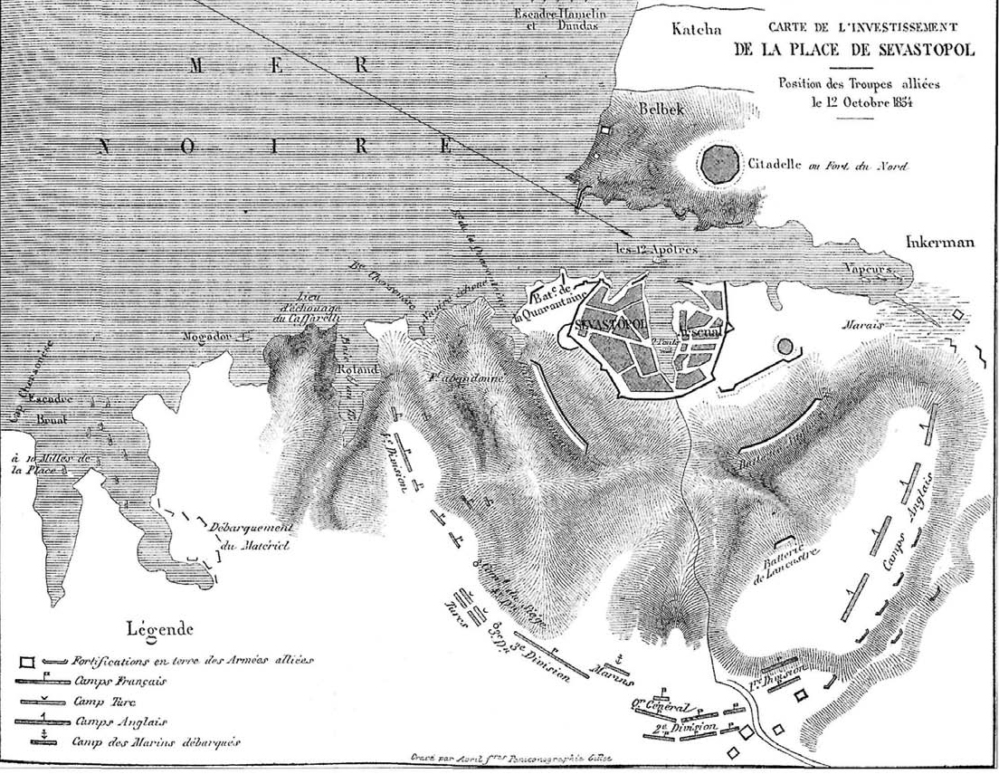 Carte de linvestissement de la place Sevastopol 1854 год.  Французская карта осады г. Севастополя с указанием...
