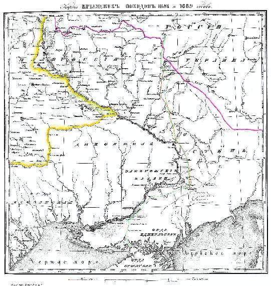 Карта крымских походов 1687 и 1689 годов
