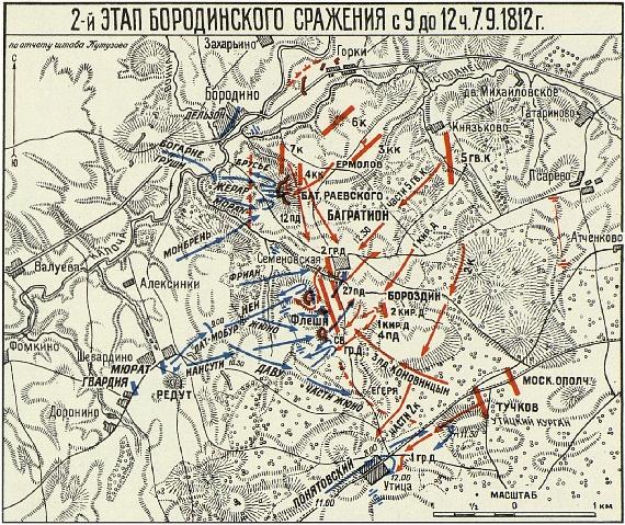Второй этап Бородинского сражения с 9 до 12 часов 7 сентября 1812 года.