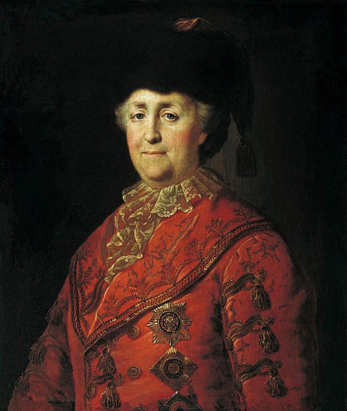 Портрет императрицы Екатерины II в дорожном костюме.