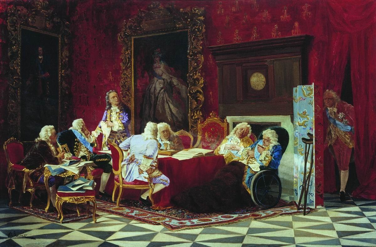 Оригинальные иллюстрации: А. П. Волынский на заседании кабинета министров